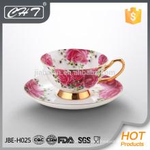 Copos de chá e pires de leite elegante de porcelana de qualidade durável