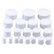 Blanco Acrylic Doble Flared Kit de calibración Oído conjunto de estiramiento