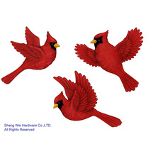 Metal Cardinal Wall Decor Set of 3