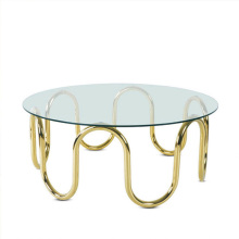 Stainless steel leg round top coffee table