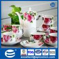 Rosas decalque chá de porcelana fina para 6 pessoas