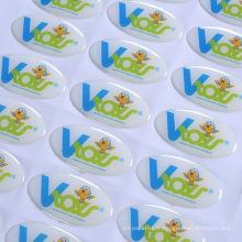 Autocollants polychromes de résine époxyde de label de résine époxyde adhésive faite sur commande de logo