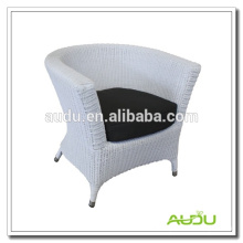 Audu White Round Rattan PROVENCE BUCKET ARMCHAIR