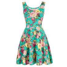Kate Kasin Elegante y Slim Fit Casual sin mangas U-cuello vestido de verano de impresión floral KK000297-3