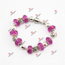 High Quality Hot Pink Glass Bead Charms Bracelet Jewelry (ALK60226)