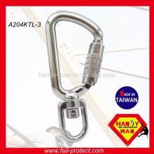 A204-KTL Mosquetón de seguridad de aluminio giratorio Carabiner con Triple Rod