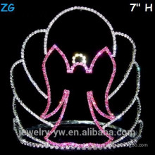 Pink Crystal Scary Halloween Witch Crown, Cheap Crystal Pageant Crowns