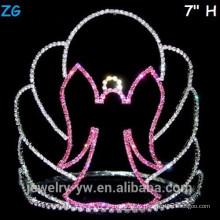 Розовый кристалл страшно Хэллоуин ведьма корона, дешевые кристалл Pageant короны