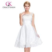 Grace Karin mangas sin mangas Cuello V de espalda Tulle Netting blanco corto vestido de baile de fin de curso GK000083-1