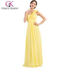 Grace Karin Vestido largo de la dama de honor de la gasa del diseño elegante de la flor del hombro uno elegante CL3402-2 #