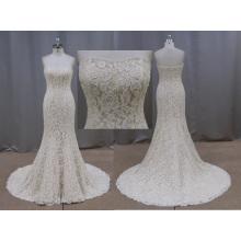 Elegante Champagne frisado Lace Applique vestido de noiva