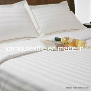 100%Sateen Cotton Hotel Flat Sheet/Bleached White 3cm Stripe Hotel Bedding Set/White Bedding Set/Bedding Sets for Hotel