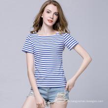 Streifen-T-Shirt der neuen Entwurfs-Frauen kurze Hülsen für Sommer Soem- / ODM-Fabrik