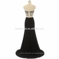 2017 nueva llegada fuera del hombro con cuentas sexy vestido de fiesta alta dividida negro, azul claro sexy vestido de fiesta de dos piezas
