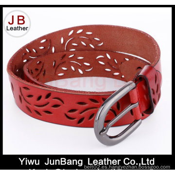 Moda de perforación de cuero auténtico Jean cinturón para las damas