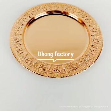 O espelho 12inch lustrou placas cor-de-rosa do carregador do aço inoxidável do ouro