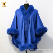 Women Warm Luxury Cashmere Cape Pashmina With Fluffy Fox Fur Trim Cloak