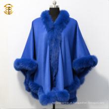 Mulheres quentes de luxo Cashmere Cape Pashmina com capa fofo de corte de pele de raposa