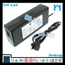 Type de bureau adaptateur cc 84w 24v 3.5a LED LCD CCTV et périphériques de bureau avec CE FCC GS C-tick, UL / CUL