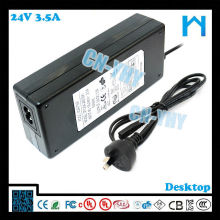 desktop type ac dc adapter 84w 24v 3.5a LED LCD CCTV and Desktop Devices with CE FCC GS C-tick, UL/CUL