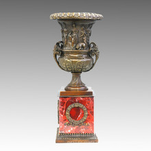Vase Statue Trophäe / Pokal Bronze Jardiniere Skulptur TPE-942