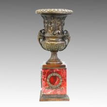 Vase Statue Trophée / Coupe Bronze Jardiniere Sculpture TPE-942