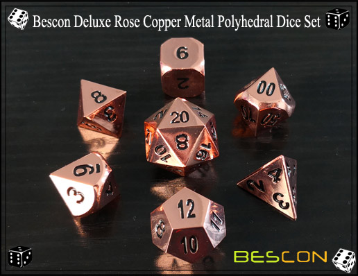 Bescon Deluxe Rose Copper Metal Polyhedral Dice Set-1
