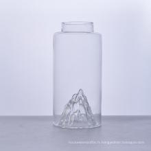 Bouteille en verre vide Mountain Bottom750ml avec couvercle en liège