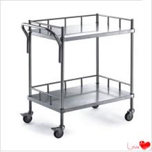 Chariot à étagères à deux étages en acier inoxydable