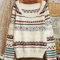 12STC0677 trendige Strickmuster Mädchen Phantasie Pullover