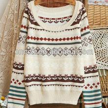 12STC0677 filles à la mode motif à tricoter fantaisie pull