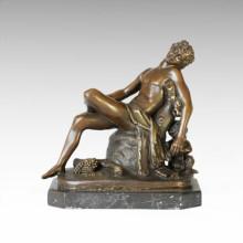 Mythologie Statue Dionysus / Bacchus Schlafen Bronze Skulptur TPE-104