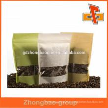 Stand up papel de arroz bolsa de café personalizado con ventana transparente para el envasado de grano de café