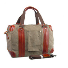 Genuine Leather Luggage Canvas Travel Bag