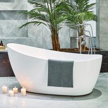 Простая белая акриловая овальная глянцевая ванна для ванной комнаты