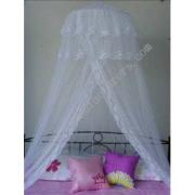 Giường đôi canopy với doulbe lớp ren đầu và ren cùng mở