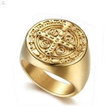 Lápide Cristianismo Jesus Aço Inoxidável Chapeamento De Ouro Cruz Católica Rosário Anéis