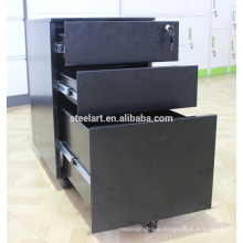 KD structure movable filing cabinet/Black File Cabinet under desk