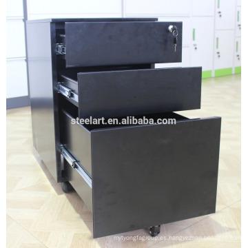 Archivador móvil de estructura KD / Archivador negro debajo del escritorio