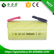 GLE ni-cd battery sub c battery 1.2v 3400mah nicd sc rechargeable battery