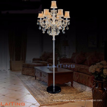 Fabric lampshade hotel crystal floor lamp chandelier