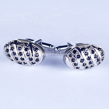 Custom Design Silver Plated Black Stones Cufflinks