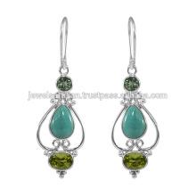 Designer Tibetische Türkis Edelstein 925 Sterling Silber Ohrring Schmuck