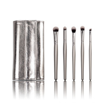 Silver Color Pocket Makeup Cosmetic Brush with Synthetic Hair