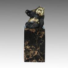 Statue animale assise Panda Sculpture en bronze, Milo Tpal-308