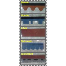 Зерна цвета стеклоткани асфальта материал и обычная черепица типа тегола
