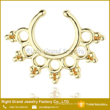 Silver Gold Plated Tribal Style Brass Piercing Fake Septum Ring For Nose
