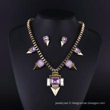 Collier en cristal violet classique Imatation Diamond