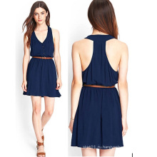 OEM 2015 Мода синий шифон Женщины платье для дам