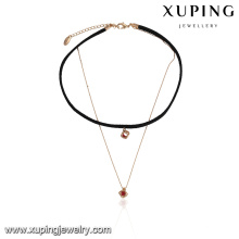 43631 New arrival nice women jewelry two layers gold chain and leather choker cage Synthetic spinel pendant necklace